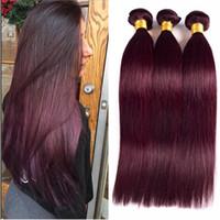 99j человеческих волос Wft 3 пучки бразильские девственные волосы переплетения 99j Бургундия прямые наращивание волос вино красные пучки