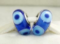 5 pcs 925 Sterling Silver Screw Azul Escuro Olho Do Mal Murano Talão De Vidro Serve Para Pandora Europeu Jóias Charme Pulseiras Colares Pingentes DH063