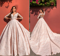2017 Pink Luxury New Wedding Dresses Lace V Neck Court Train...