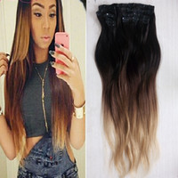 Wholesale clip in human hair extensions 160g buy cheap clip in t1b 4 27 ombre clip in peruvian human hair extensions 160g set wholesale 3 set 3tone straight virgin clip ins 24 26 28inch pmusecretfo Images