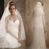 Venda quente branco marfim véu do casamento net net 2 camadas tule comprimento catedral com pente véu de noiva personalizado