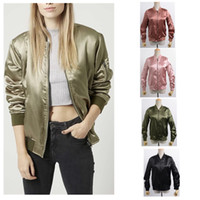 Fashion Winter Bomber Jacket Satin Women Coat Thick Warm Vin...