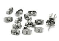Tom de prata Borboleta de aço inoxidável Brincos de borboleta, brincos de volta rolhas / suportes, brinco de aço inoxidável plugues 200pcs conjunto