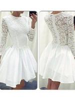 Einfache Langarm White Mine Homecoming Kleider Jewel Neck Zipper Lace Kleider für Party Kleider Prom Kleider