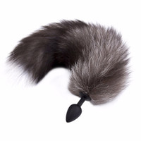 Silicone Butt Plug Black Fox Tail Anal toys for women Plug S...