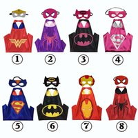 Superhero Kids Capes Mask Set Party Cosplay Costumes Robe pour enfants Double couche 70 * 70cm Halloween Iron Man Spider Man Cape Mask