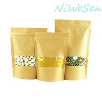 20X30 cm 100 unids X bolsa de ziplock de papel de kraft marrón de pie, bolsa de paquete de semillas de papel transparente de la artesanía de la ventana frontal transparente saco reutilizable-caramelo