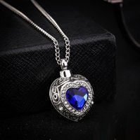New Silver Tone Кремация Screw Мемориал кулон океан сердце Sapphire Урна ожерелье Медальон Keepsake ювелирные изделия
