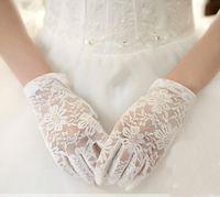 Siyah / Beyaz / Fildişi / Kırmızı Düğün Eldiven 2017 Yeni Tam Parmak Gelin Eldiven luva de noivas Gants Mariage Femme Tığ Işi Eldiven Düğün Accessor