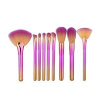 9 unids Rainbow Pinceles de Maquillaje Set Pelo Sintético Suave Maquillaje Profesional Beush Herramientas Fundación Fan Powder Cream Blush Kit de Cepillo de Maquillaje