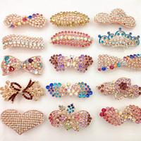 Hot Fashion Spring Clip Kristall Haarnadeln Bling Bling Strass Haarschmuck Perle Herz Bogen Blume Blatt Großhandel Haarschmuck von DHL