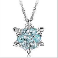 Очарование старинные Леди синий Кристалл Снежинка Циркон цветок серебряные ожерелья подвески ювелирные изделия для женщин Бесплатная доставка