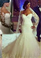 Сногсшибательное вырезное вырез русалка с длинными рукавами с длинными рукавами свадебные платья с бисером кружевной аппликации плюс размер свадебных платьев