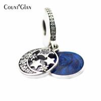 Convient aux bracelets Pandora Vintage Night avec perles bleues en argent et émail bleu 100% breloques en argent sterling 925, bricolage, bijoux, femmes