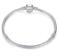 6-9 cali Posrebrzany łańcuch węża 3mm Fit Europejskiej Urok Koraliki Bangle Bransoletki z logo Moda DIY Jewelry