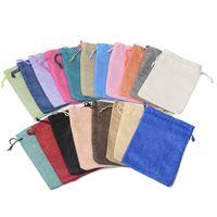Whloesale 100 unids / lote 7x9 cm 9x12 cm Multi colores Mini bolsa de yute bolsa de lino de cáñamo regalo de la joyería bolsa de lazo bolsas para favores de la boda, perlas