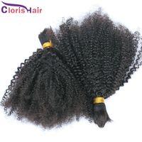 Soft Malasian Kinky Curly Hair Human Hair Bulk Afro Kinky Curly Bulk Human Hair Extensions para barato sin apego