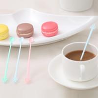 Wholesale-キャンディーカラーコーヒースターラーバースプーンミルクフルーツ小さな攪拌バーロングハンドリングスプーンミキシングメラミンプラスチックスプーン12.7 * 1cm