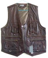 All'ingrosso-Plus Size L-6XL Gilet da uomo con molte tasche in vera pelle giacca Gilet da uomo Gilet Autunno Top