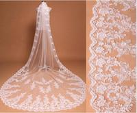 Veli nuziali da sposa Tre metri Veli lunghi Pizzo Applique Cristalli Cattedrale Lunghezza veli da sposa economici HT95