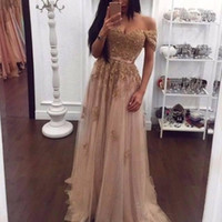 Vintage Off the Shoulder A Line Tulle Prom Dresses Gold Embr...