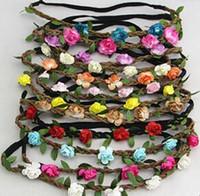Mode Haarschmuck Frau Blume Stirnband Blumen Perücke Schleife Frau Hoop Böhmen Sandstrand Rose Haarband Braut Girlanden