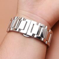 18mm 20mm 21mm 22mm 23mm 24mm Argent en acier inoxydable poli bande de montre en métal Bracelet Mode papillon boucle fermoir montre accessoire