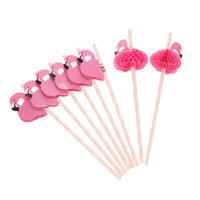 25Pcs Flamingo Decorated Paper Straws for Wedding, Party, Ba...