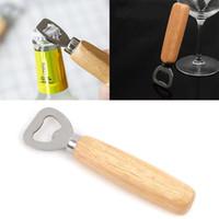 أدوات فتح زجاجات المطبخ الفولاذ المقاوم للصدأ مقبض خشبي البيرة فتاحة شريط أدوات الصودا البيرة زجاجة قبعة قبعة فتاحة الهدايا WX-C29