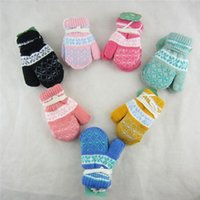 Wholesale- Mittens Gloves Girl Boy Blend Winter Warm Gloves 1 to 4 Years Lovely Kids Knited Fashion 016