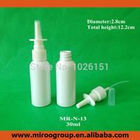 Hotsale de alta calidad 50 + 2 unids / lote 30 ml botellas de bomba de aerosol nasal de plástico, 1 oz botellas de pulverizador nasal de plástico 30 ml (color blanco)