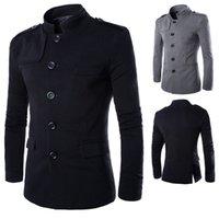 Großhandel - Neuankömmlinge Männer Casual Stehkragen Chinesische Tunika Anzug Blazer Jacken Single Breasted Denim Slim Jacke und Mantel Freies Verschiffen