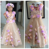 Cute Real Pictures 2017 3d Flowers Girls Dresses Floral Ador...