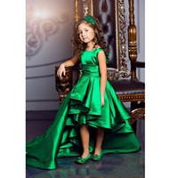 Nova Chegada Esmeralda Verde Meninas Pageant Vestidos de Alta Baixa Princesa Flor Meninas Vestidos Para Casamentos Adorável Crianças Comunhão Vestido