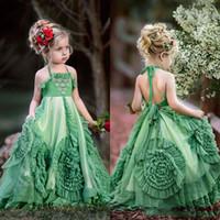 Boho Verde Ruffles Flower Girls Vestidos Para Casamentos A-Line Halter Caçoa o Vestido Pageant Beach Birthday Party Vestidos Para A Primeira Comunhão