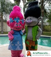 100% real photos Trolls Branch & Poppy suit mascot costume T...