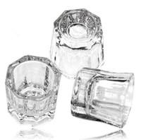Kristal Tonu Kase Cam Dappen Bulaşık Nail Art Akrilik Sıvı Tutucu Konteyner