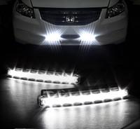 라이트 헤드 FOG 램프 슈퍼 화이트 색상 방수 외부 LED 자동차 스타일링을 실행 보편적 인 DRL 2 개 DC 12V 8W 8LED 자동차 주간 운전