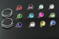 Vente en gros-10 mm vente chaude fil extensible anneau bracelet cristal strass birthstone charme pendentif mélanger 12 couleurs x 5 pcs chaque couleur pendentif