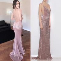 Pink Sequined Prom Dresses Sereia Sexy mergulho V-neck simples sem mangas Zipper Backless formal vestido de festa 2017 Charming Longos Vestidos de noite