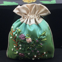 Bordado da fita Patchwork Handmade Bolsa chinesa com cordão étnica jóias de bolsas de cetim pano Lavender Especiarias saco de armazenamento