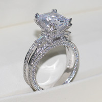 Vecalon المرأة الكبيرة المجوهرات الدائري الأميرة قص 10ct حجر الماس 300 قطع تشيكوسلوفاكيا 925 فضة الاشتباك خاتم الزواج هدية
