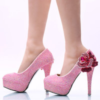 2017 Plus Size 45 Women Dress Shoes Pink AB Color Flower Rhi...
