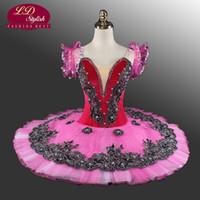 Ballet de velours professionnel Tutu Rose Ballet classique rouge Tutu Lac de cygne Costumes de scène bleu adulte Ballet noir Tutus LD0013