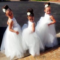 Bateau lindo vestidos de niñas de flores blancas con media manga de encaje de tul niños vestidos de novia baratos por encargo