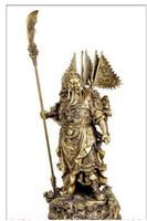 Kupfer Messing Exquisite Große Chinesische Fengshui MESSING Statue Neun Drachen Guan Gong Dekoration