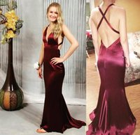 2018 Sexy Dark Red Deep V Neck Mermaid Prom Dress Halter Nec...