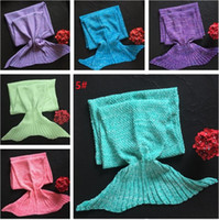 Mermaid Tail Blanket 140 * 70cm Adulto Soft Super Warm Sofa Blanket 10 cores Sleeping Bag Kids Bedding Wrap 10pcs 4624