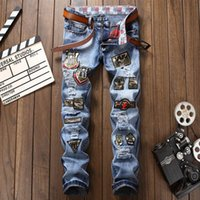 Hip Hop Patches Men' s Jeans Blue Ripped Stragiht Fit De...