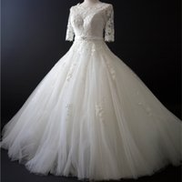 Half Sleeves Lace Tulle A Line Wedding Dress With Appliques ...